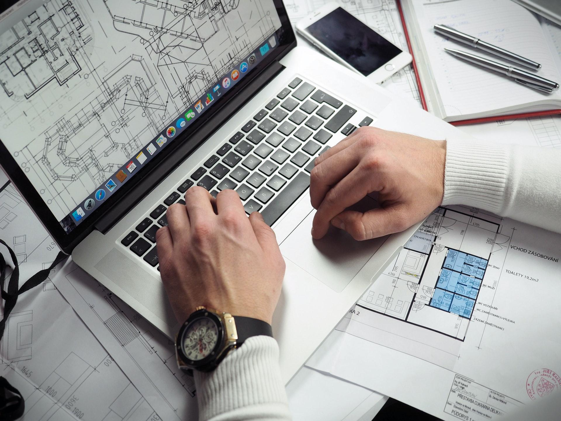 Architect using laptop