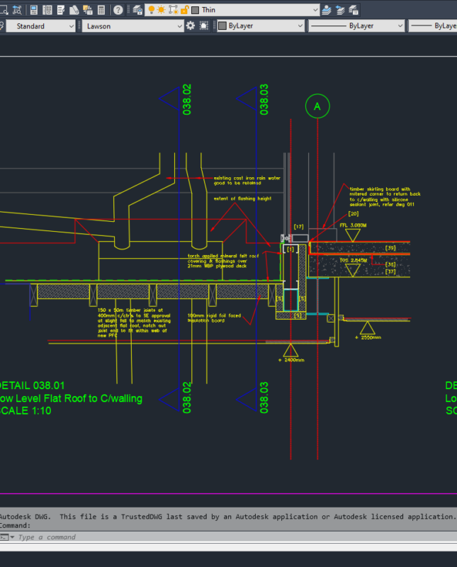 Working drawings in CAD